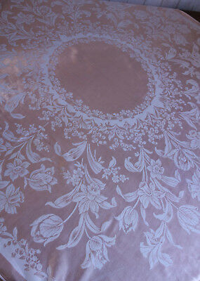 vintage jacquard pink cotton spring flowers tablecloth 50x50 inches