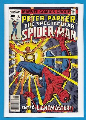 PETER PARKER, THE SPECTACULAR SPIDER-MAN #3_FEB 1977_VF-_1st APP LIGHTMASTER!