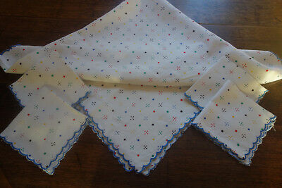 pretty vintage polka dot tablecloth 44x44 inches and napkins