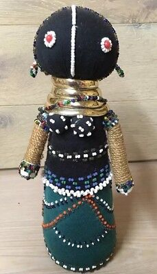 "Vintage Large Ndebele South African beaded doll 10.5"" Tall clearance find"
