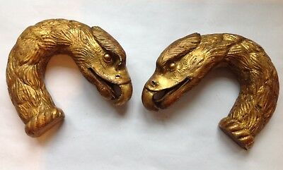 Two vintage carved wood gilded eagle heads - architectural salvage