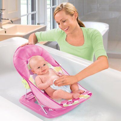 Deluxe Baby Bather Infant Tub Safe Head Cradle Support Foldable Bath Seat - Pink