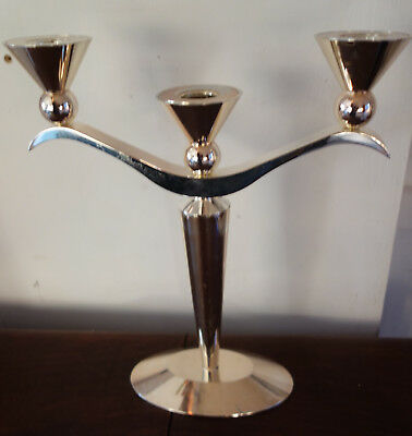 vintage thistle shaped silver plated candelabra