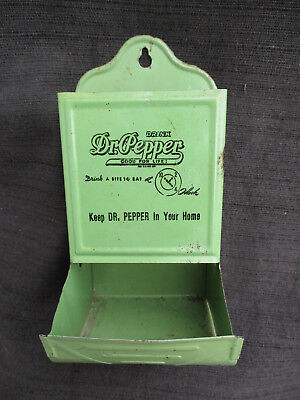 Old Vintage Dr Pepper Advertising Tin Wall Mount Kitchen Match Box Holder