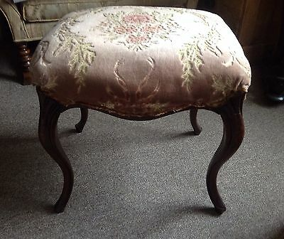 Walnut? Antique Dressing Table Stool Swans Neck Cabriole Legs Upholstery Project