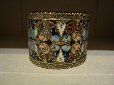 19th-early 20thc CLOISONNE CHAMPLEVE RUSSIAN? FRENCH? ENAMEL NAPKIN RING FAB