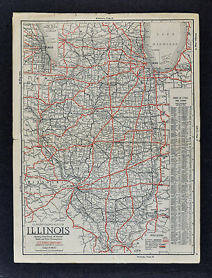 1930 Clason Road Map Illinois Chicago Springfield St. Louis Peoria Quincy Alton
