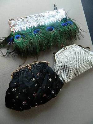 Three vintage evening bags handbags - Peacock feathers, sequins
