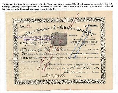 Stk-Hooven & Allison Co. 1892  Xenia, OH #51 See image #6 for infor
