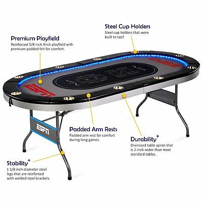 Espn 10 Player Positions Premium Poker Table Holdem With In-Laid LED Lights NEW