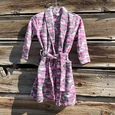 Girl's Pink Fleece Camouflage Happy Time Robe for Leisure Time 4/5 (S)