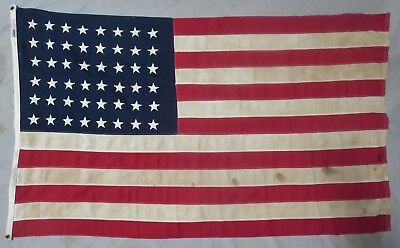 Used & Worn WW2 Vintage US 48 STAR AMERICAN FLAG 3x5 Baldwin Regalia ORIGINAL