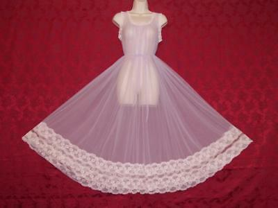 Stunning Vtg Intime Style Lavender Chiffon Lace Nightgown