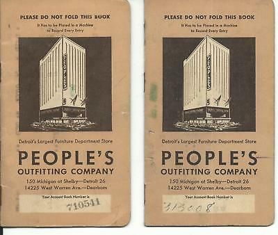 2 - People's Outfitting Co. Payment Booklets - 1950's - Detroit Department Store