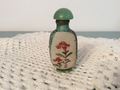 Antique Pottery  Hand Painted Asian Snuff Bottle Jade Top Brass Rim