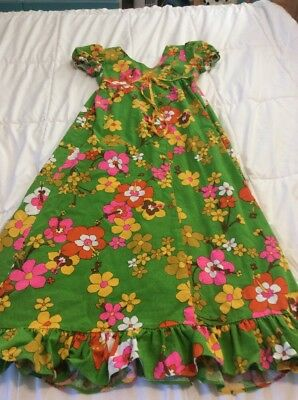 Girls True Vintage 1960's Bright Neon Floral Dress Made By June Bug Of Hawaii