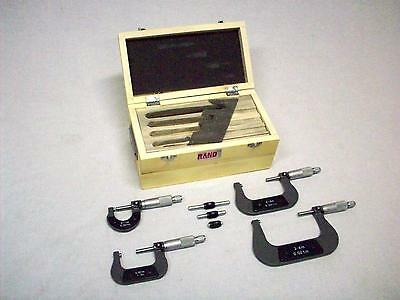 "New Rand 0-4"" Outside Micrometer Set/Carbide Tips/8 pcs mics calipers case"