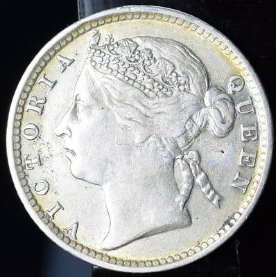 1894 Straits Settlements Silver 10 Cents - XF