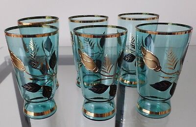 Six Decorative Blue & Gold Glasses !!
