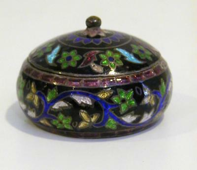 Vintage 925 Sterling Chinese Cloisonne Enamel & Foil Snuff / Pill Box