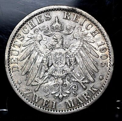 1905-A Prussia Germany Zwei 2 Mark Silver - XF
