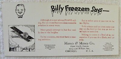 Old Billy Freezem, Airplane, Vanilla Ice Cream, Massey Co., Chicago Ink Blotter