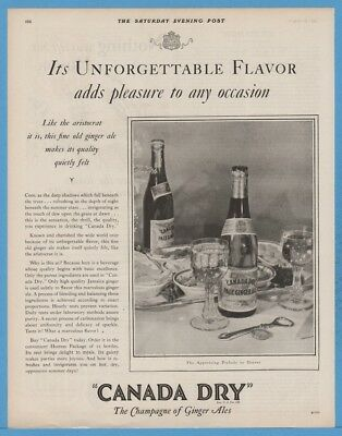 1929 Canada Dry Champagne of Ginger Ale Vintage 1920's Kitchen decor print Ad