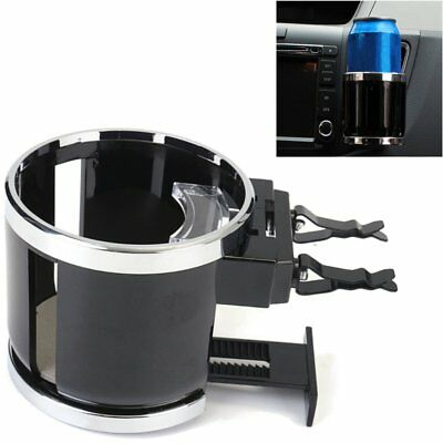 Car Van Chrome Universal Air Vent w/ Clip On Cup Holder Water Bottle Can Drink