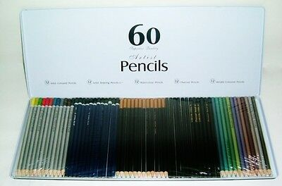 60 Artist Pencils Pencil Set In Tin  Watercolours / Charcoal / Drawing / Colours