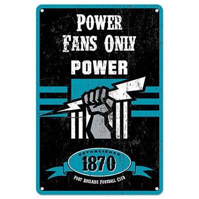 Adelaide Port Power Fans Only AFL Retro Metal Tin Wall Sign Gift Man Cave Shed