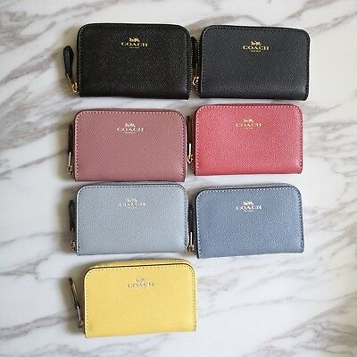 New Coach Small Zip Around Coin Case In Crossgrain Leather F27569 $75