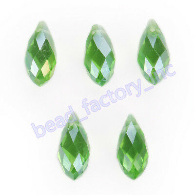 30Pcs Glass Teardrop Pendant Spacer Beads Necklace Pendant Findings 6x12mm AB