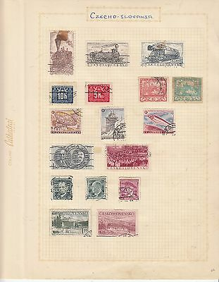 CZECHOSLOVAKIA EARLY COLLECTION on old album Page MINT/USEDinc TRAINS