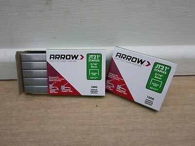2 Packs Of 1000  Arrow Jt-21 Jt21 Tacker  Staples 8Mm      Type 53