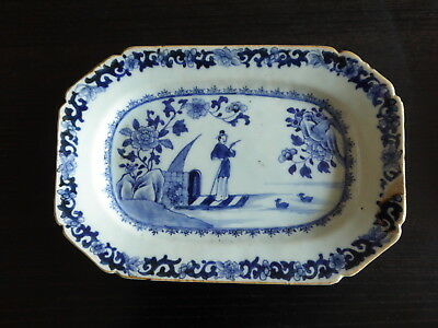 Early Chinese Blue & White Lozenge Shaped Plate ~ Man On A Barge