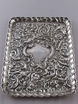 Lovely Antique Edwardian Solid Silver Dressing Table Tray Cherub Design 1903