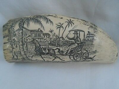 antique vintage scrimshawed whale tooth slave horse shipping Island scene as is