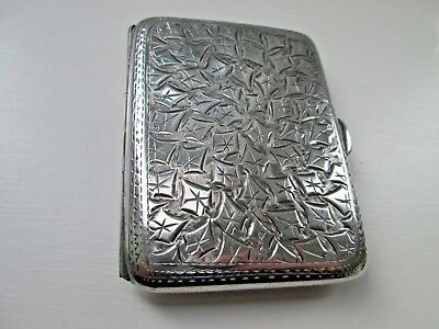 Hallmarked Chester Solid Silver Art Nouveau Cigarette/ Card Case 58 Grams