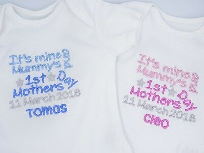 Personalised Embroidered MINE & MUMMYS HAPPY FIRST 1ST MOTHERS DAY BABY CLOTHING