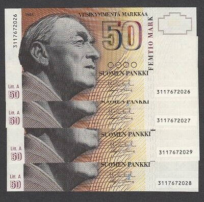4 Pcs 50 Mark from Finland 1986 Consecutive Unc