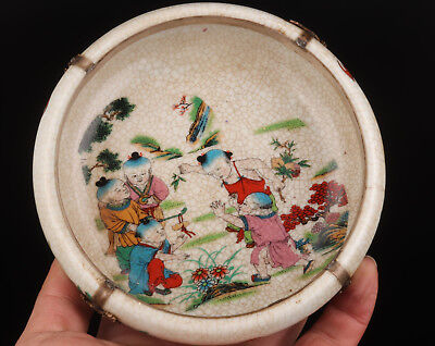 Old Hand Painting  Plate Ice - Cracked Porcelain Ancient Children Play With Dish