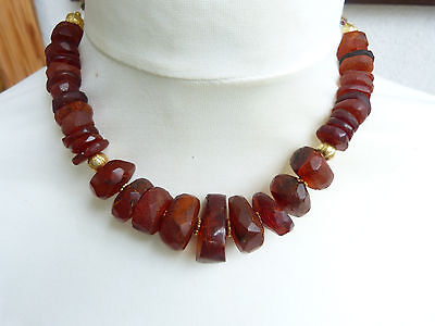 Baltic Amber Necklace, honey amber, 22 k gold beads, rare hand cut ancient beads