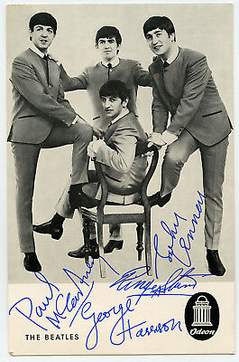 The Beatles 1960s Odeon Promotional Card Facsimile Signatures Autographs