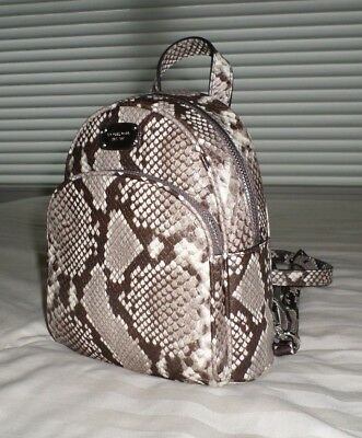 ece29d70d3 NWT Michael Kors ABBEY XS Python-Embossed Leather Backpack Crossbody Bag  NATURAL