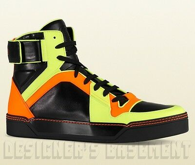 d78c2e931 GUCCI Mens 10.5G* black Neon BASKETBALL Grip-strap High Top Sneakers NIB  Authent