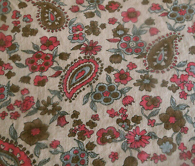 Antique Floral Smaller Scale Paisley Cotton Fabric ~ Pink Gray Brown ~doll quilt