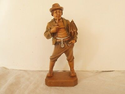 Vintage Black Forest Wood carving Man with Pipe and bag