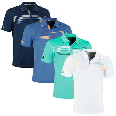 adidas Golf Mens 2018 Textured Tipped ClimaCool Polo Shirt Top 36% OFF RRP