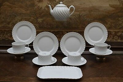 "HAVILAND-LIMOGES FRANCE, MILCHKAFFEE-TEE-SERVICE ""TORSE BLANC"" 4 Pers. 14 Teile"