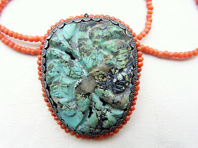 Antique Chinese carved silver turquoise coral brooch/pendant on Victorian coral